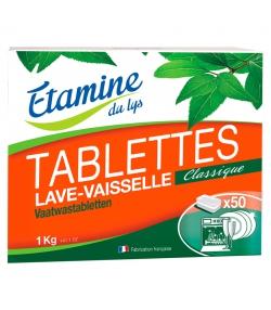 Tablettes lave-vaisselle classique écologiques sans parfum - 50 tablettes - Etamine du Lys