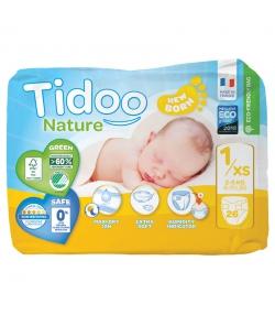 Couches & langes jetables écologiques Taille 1 XS New Born 2-5 kg - 1 sac de 26 pièces - Tidoo Night&Day