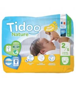 Couches & langes jetables écologiques Taille 2 S Mini 3-6 kg - 1 sac de 31 pièces - Tidoo Night&Day
