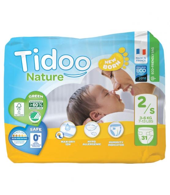 Ökowindeln & Biowindeln Grösse 2 S Mini 3-6 kg - 1 Paket mit 31 Stück - Tidoo Night&Day