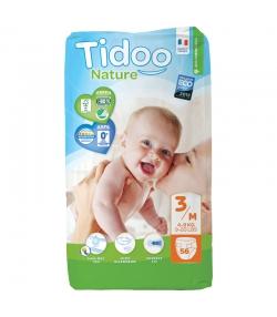 Couches & langes jetables écologiques Taille 3 M Midi 4-9 kg - 1 sac de 56 pièces - Tidoo Night&Day