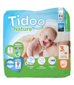 Couches & langes jetables écologiques Taille 3 M Midi 4-9 kg - 1 sac de 27 pièces - Tidoo Night&Day