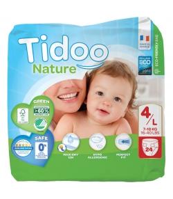 Couches & langes jetables écologiques Taille 4 L Maxi 7-18 kg - 1 sac de 24 pièces - Tidoo Night&Day