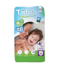 Couches & langes jetables écologiques Taille 4+ L+ Maxi+ 9-20 kg - 1 sac de 48 pièces - Tidoo Night&Day