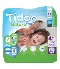 Couches & langes jetables écologiques Taille 4+ L+ Maxi+ 9-20 kg - 1 sac de 23 pièces - Tidoo Night&Day