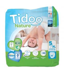 Couches & langes jetables écologiques Taille 5 XL Junior 12-25 kg - 1 sac de 22 pièces - Tidoo Night&Day