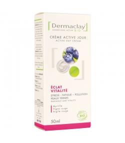 Crème active jour éclat & vitalité BIO myrtille & vigne rouge - 50ml - Dermaclay