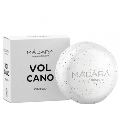 Savon exfoliant vitalisant BIO sable de lave noire, cèdre & citron vert - 90g - Mádara Volcano
