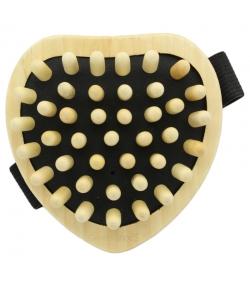 Cellulite-Bürste herzförmig mit Gurt, aus Ahorn & mit Holznoppen - 1 Stück - Kost Kamm