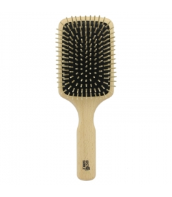 Holzbürste Paddle-Brush rechteckig aus Buche mit geraden Holznoppen - 1 Stück - Kost Kamm