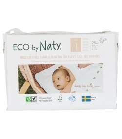 Couches & langes jetables écologiques Taille 1 Newborn 2-5 kg - 1 sac de 25 pièces - Naty