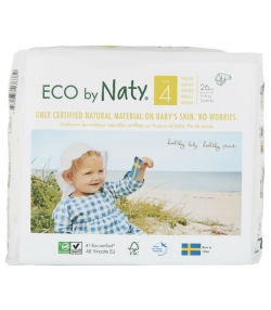 Couches & langes jetables écologiques Taille 4 Maxi 7-18 kg - 1 sac de 26 pièces - Naty