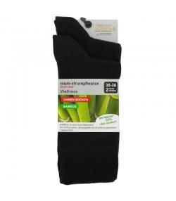 Bambus Socken schwarz - Grösse 35-38 - 2 Paare - Mum Sox