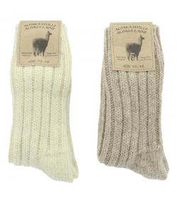 Alpaka Socken Dick Wollweiss/Hellbraun - Grösse 35-38 - 2 Paare - Mum Sox