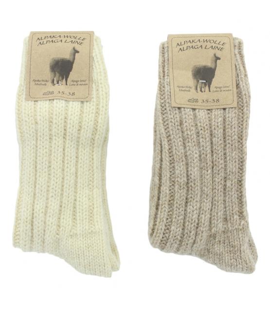 Chaussette alpaga épaisse blanc/brun clair - taille 35-38 - 2 paires - Mum Sox