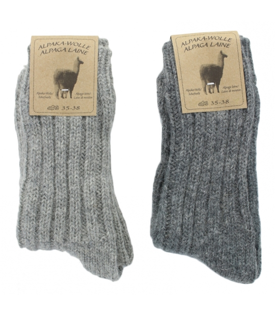 Alpaka Socken Dick Hellgrau/Dunkelgrau - Grösse 35-38 - 2 Paare - Mum Sox