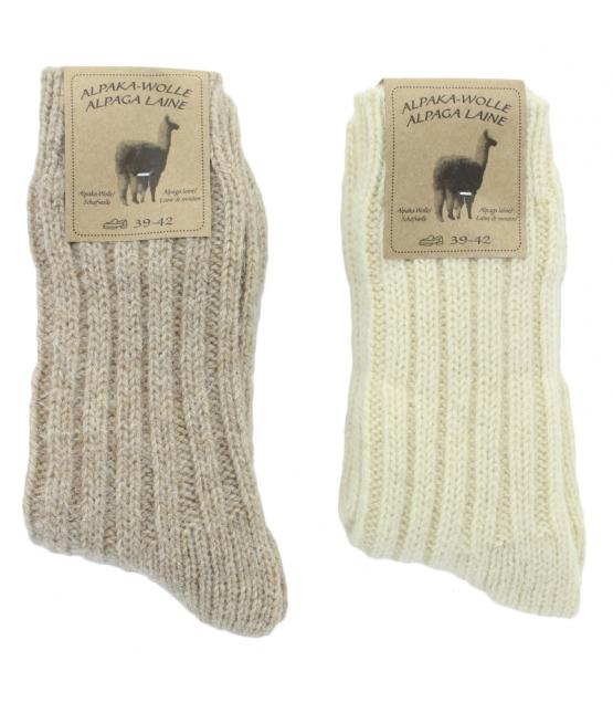 Alpaka Socken Dick Wollweiss/Hellbraun - Grösse 39-42 - 2 Paare - Mum Sox