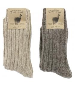Alpaka Socken Dick Hellbraun/Dunkelbraun - Grösse 39-42 - 2 Paare - Mum Sox