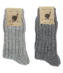 Alpaka Socken Dick Hellgrau/Dunkelgrau - Grösse 39-42 - 2 Paare - Mum Sox