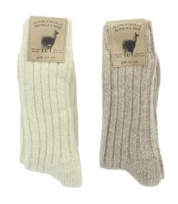 Chaussette alpaga épaisse blanc/brun clair - taille 43-46 - 2 paires - Mum Sox