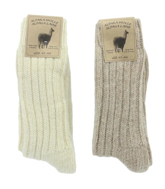 Alpaka Socken Dick Wollweiss/Hellbraun - Grösse 43-46 - 2 Paare - Mum Sox