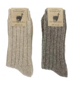 Chaussette alpaga épaisse brun clair/brun foncé - taille 43-46 - 2 paires - Mum Sox