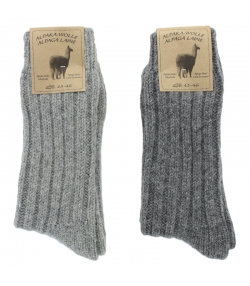 Chaussette alpaga épaisse gris clair/gris foncé - taille 43-46 - 2 paires - Mum Sox