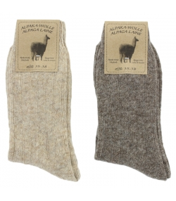 Alpaka Socken Medium Hellbraun/Dunkelbraun - Grösse 35-38 - 2 Paare - Mum Sox