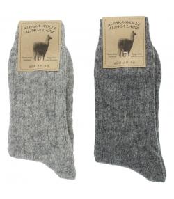 Alpaka Socken Medium Hellgrau/Dunkelgrau - Grösse 35-38 - 2 Paare - Mum Sox