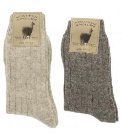 Alpaka Socken Medium Hellbraun/Dunkelbraun - Grösse 39-42 - 2 Paare - Mum Sox