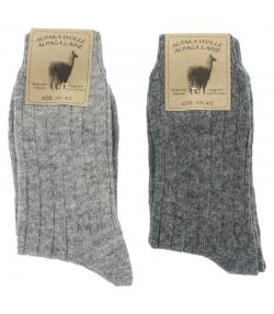 Alpaka Socken Medium Hellgrau/Dunkelgrau - Grösse 39-42 - 2 Paare - Mum Sox
