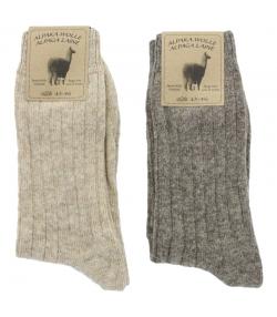 Alpaka Socken Medium Hellbraun/Dunkelbraun - Grösse 43-46 - 2 Paare - Mum Sox
