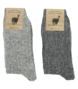 Alpaka Socken Medium Hellgrau/Dunkelgrau - Grösse 43-46 - 2 Paare - Mum Sox