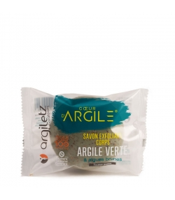 Savon exfoliant corps BIO argile verte & algues brunes - 100g - Argiletz