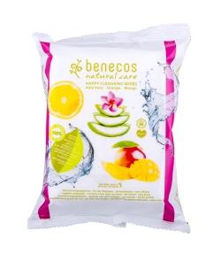 Lingettes démaquillantes BIO aloe vera, orange & mangue - 25 pièces - Benecos
