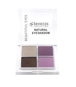 Quatre ombres à paupières BIO Brun, Taupe, Rose & Lila – Beautiful eyes – 4,8g – Benecos