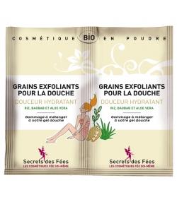 Grains exfoliants pour la douche douceur hydratant BIO riz, baobab & aloe vera - 2x2,5g - Secrets des Fées
