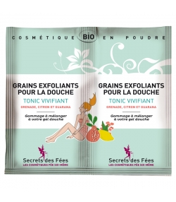 Grains exfoliants pour la douche tonique vivifiant BIO grenade, citron & guarana - 2x2,5g - Secrets des Fées