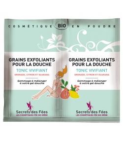 BIO-Peelingkörnchen für die Dusche belebend erfrischend Granatapfel, Zitrone & Guarana - 2x2,5g - Secrets des Fées