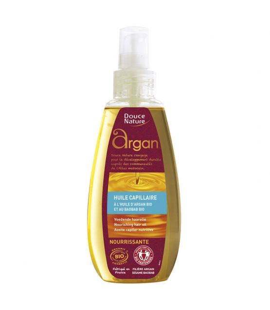 Huile capillaire nourrissante BIO huile d'argan & baobab - 160ml - Douce Nature