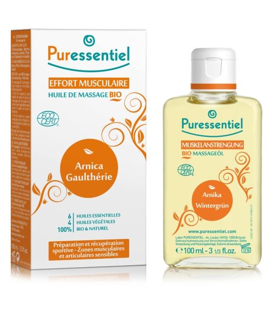Huile de massage effort musculaire BIO 6 huiles essentielles & 4 huiles végétales - 100ml - Puressentiel
