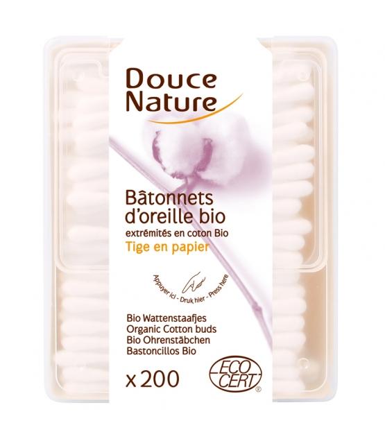 Bâtonnets d'oreilles en coton BIO - 200 bâtonnets - Douce Nature