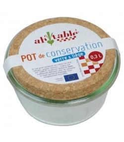 Pot de conservation en verre 300ml avec couvercle en liège - 1 pièce - ah table !