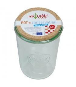 Pot de conservation en verre 900ml avec couvercle en liège - 1 pièce - ah table !