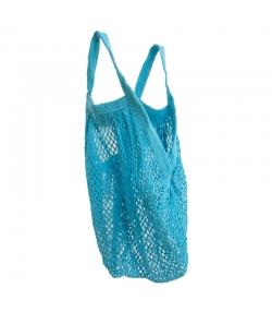 Sac filet à provisions à anses courtes turquoise en coton BIO - 1 pièce - ah table !