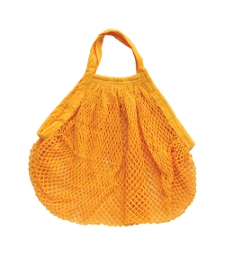 Sac filet à provisions à anses courtes jaune safran en coton BIO - 1 pièce - ah table !