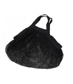 BIO-Baumwoll-Einkaufsnetz mit kurzen Henkeln, schwarz - 1 Stück - ah table !
