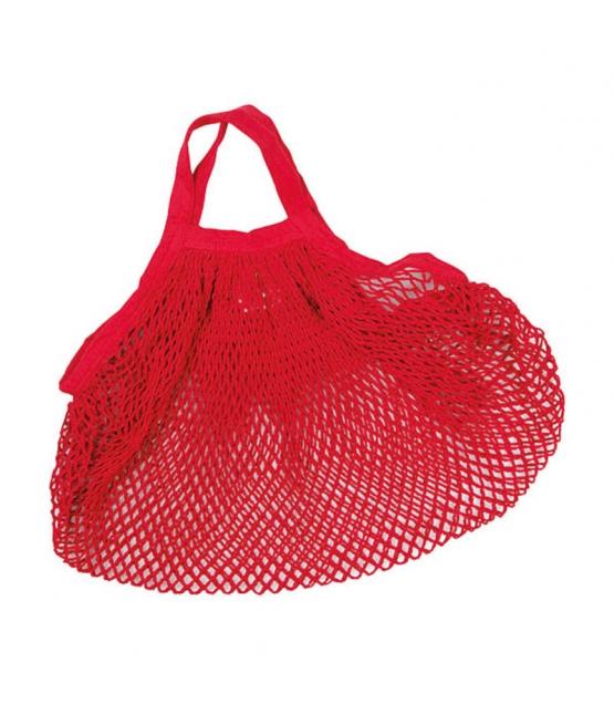 Sac filet à provisions à anses courtes rouge en coton BIO - 1 pièce - ah table !