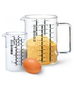Lot de 2 verres mesureurs 500ml, 1l - 2 pièces - ah table !
