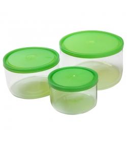 Set mit 3 runden Glasbehältern 400ml, 800ml, 1,5l mit Plastikdeckel - 3 Stück - ah table !